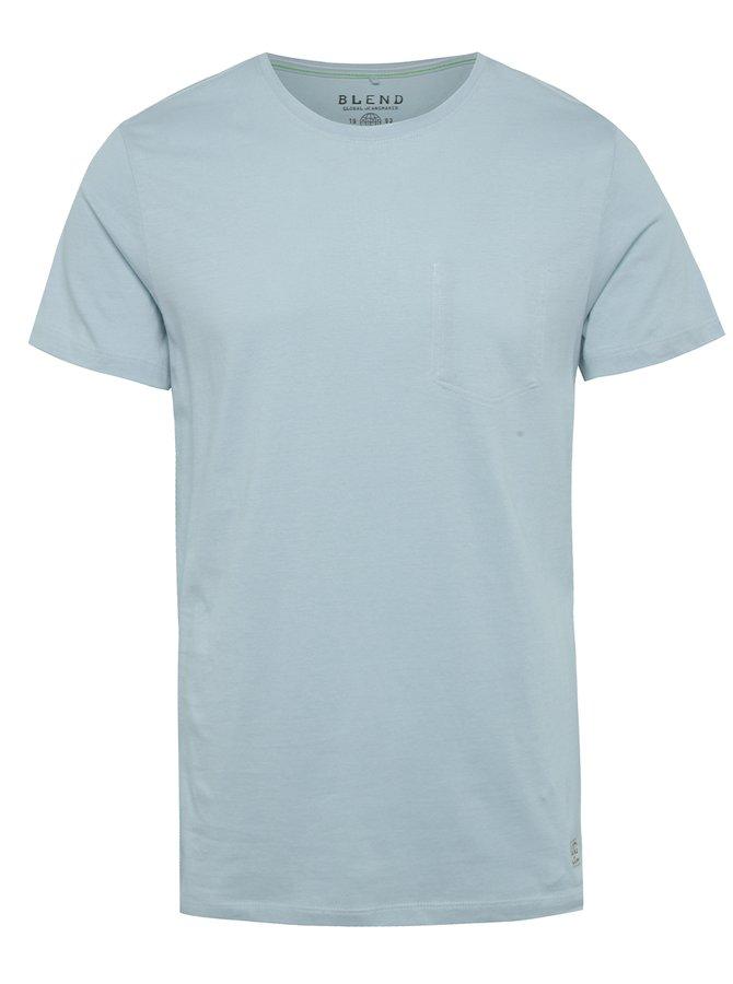 Světle modré regular fit triko s imitací náprsní kapsy Blend