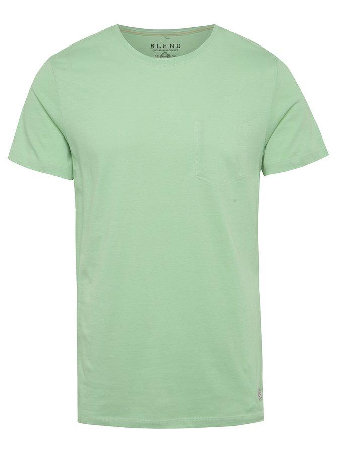 Zelené regular fit triko s imitací náprsní kapsy Blend