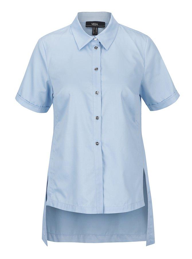 Světle modrá  košile s prodlouženou zadní částí NISSA