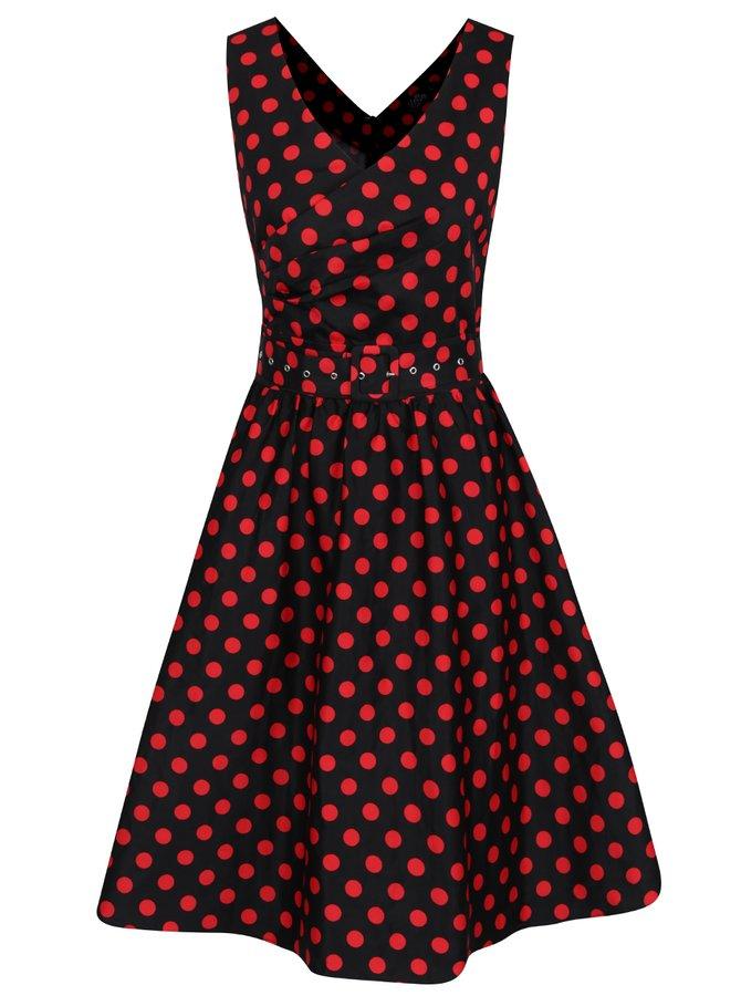 Červeno-černé puntíkované šaty s páskem Dolly & Dotty May