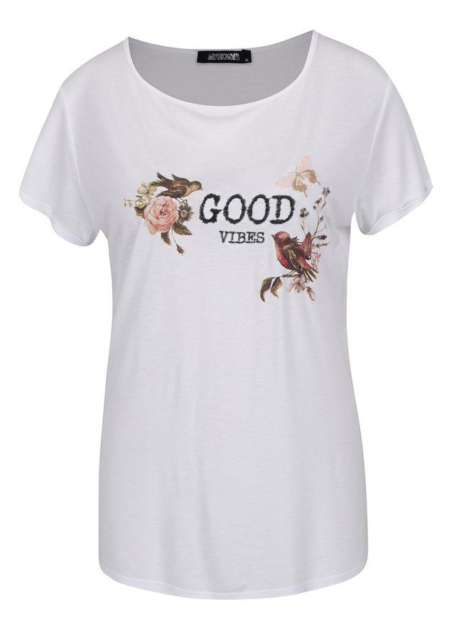 Tricou alb Haily´s Yourself  cu print și broderie