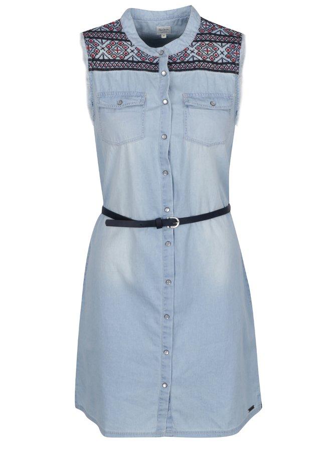 Modré džínové šaty s detaily Pepe Jeans Lulus