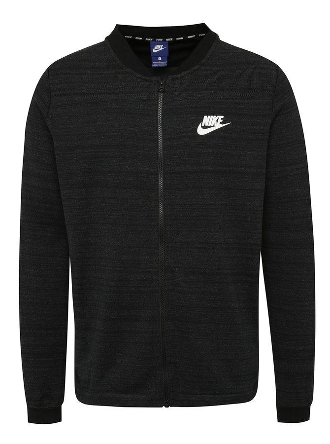 Černý žíhaný pánský mikinový bomber Nike Sportswear Advance 15
