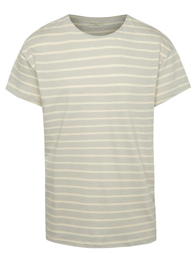 Světle šedé pruhované oversize triko Selected Homme Pure