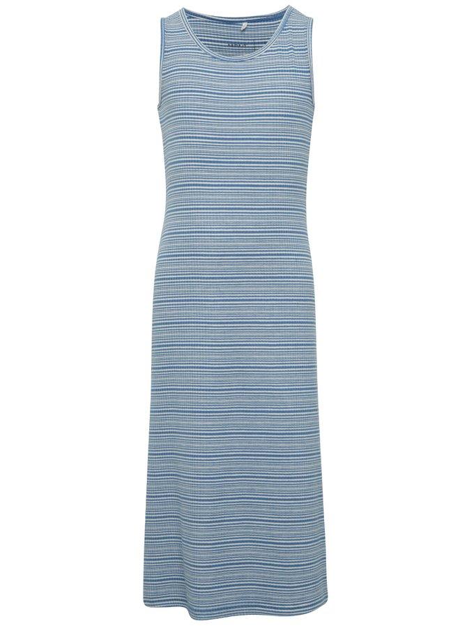 Bílo-modré holčičí pruhované dlouhé šaty name it Jisola