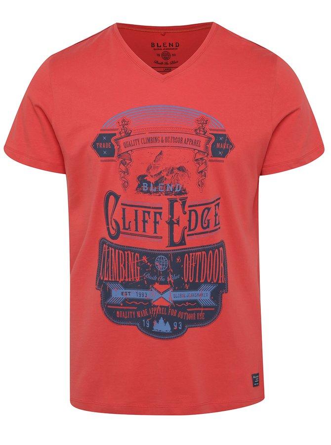 Červené triko s barevným potiskem Blend