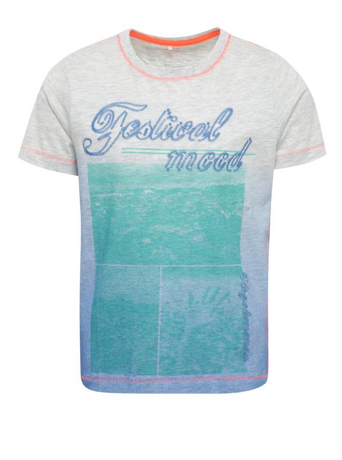 Tricou gri melanj pentru băieți cu print frontal name it Johan
