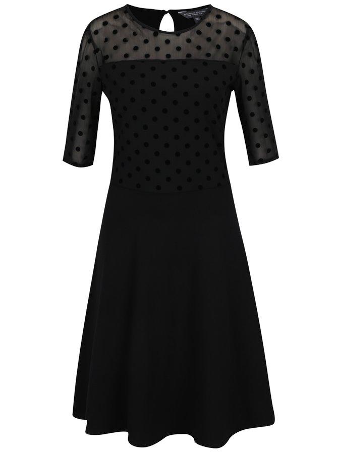 Černé šaty s průsvitným puntíkovaným topem Dorothy Perkins Tall