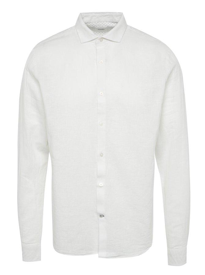 Krémová lněná košile s dlouhým rukávem Burton Menswear London