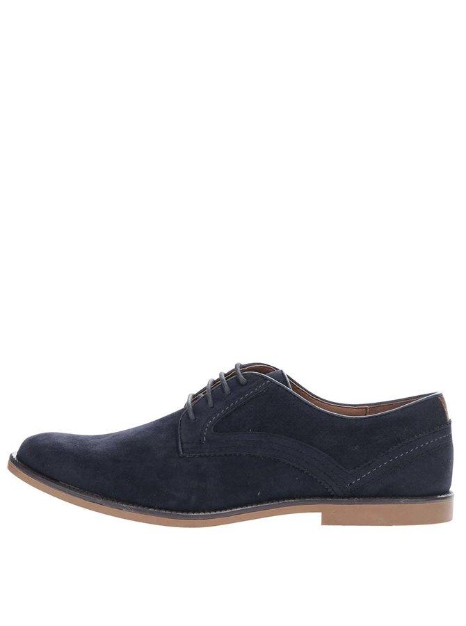 Pantofi bleumarin Burton Menswear London cu aspect de piele întoarsă