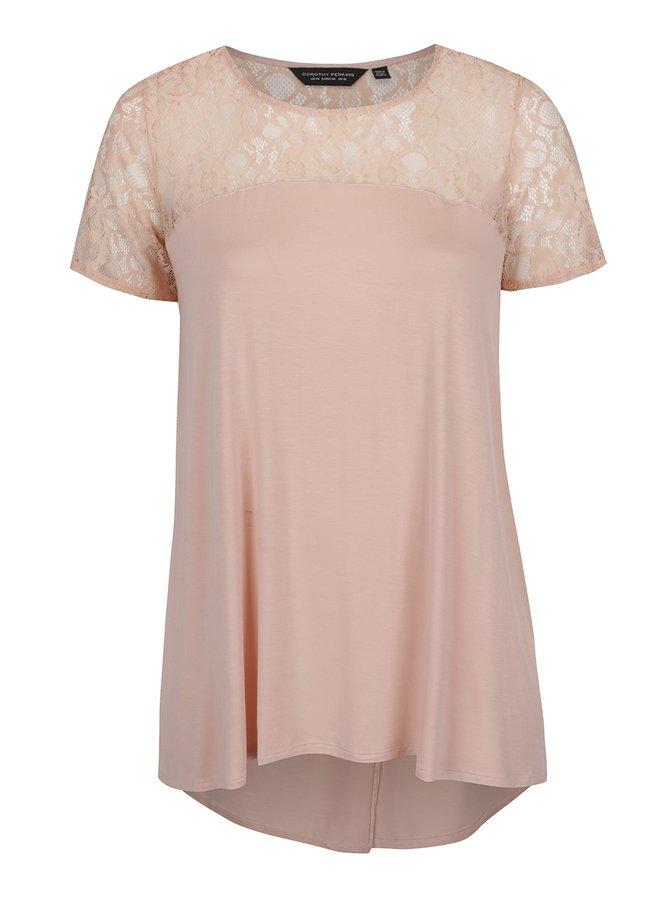 Tricou roz pal Dorothy Perkins Curve cu inserție din dantelă