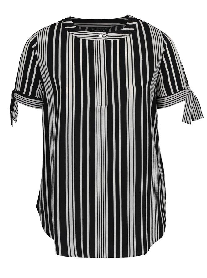 Bílo-černá pruhovaná halenka s průstřihy na rukávech Dorothy Perkins Curve