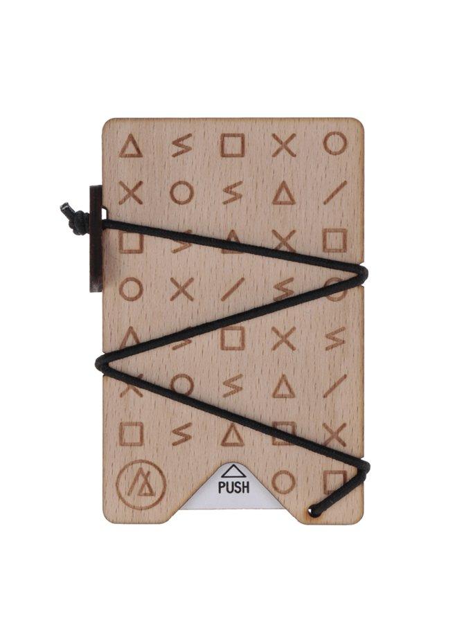 Hnědé dřevěné vzorované unisex pouzdro na karty OONA Studio