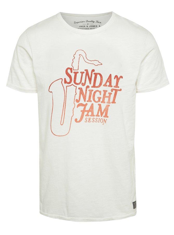 Krémové triko s potiskem Jack & Jones Coston