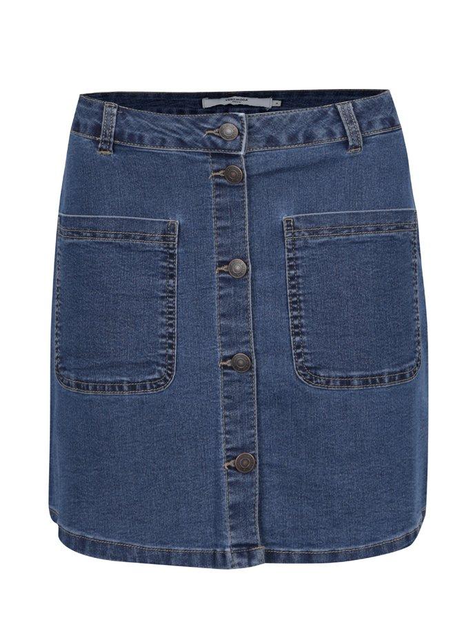 Modrá džínová sukně s knoflíky VERO MODA Grace