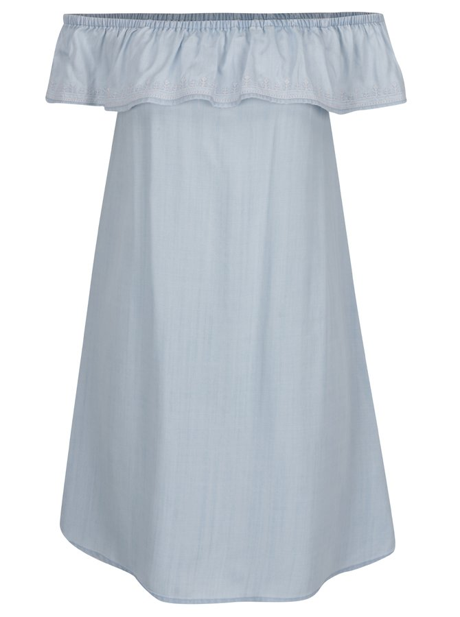 Světle modré šaty s odhalenými rameny a volánem VERO MODA Katinka