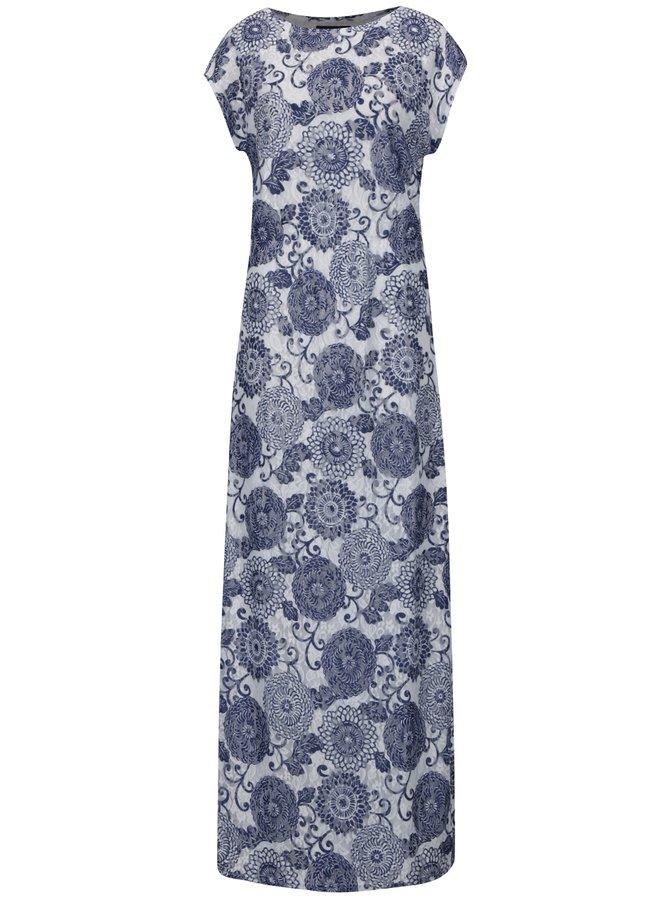 Modro-bílé vzorované maxišaty Mela London