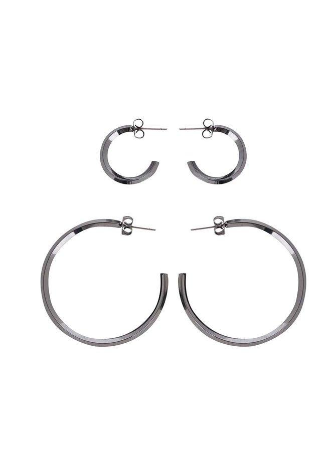 Sada dvou párů šedých kruhových náušnic Pieces Eila