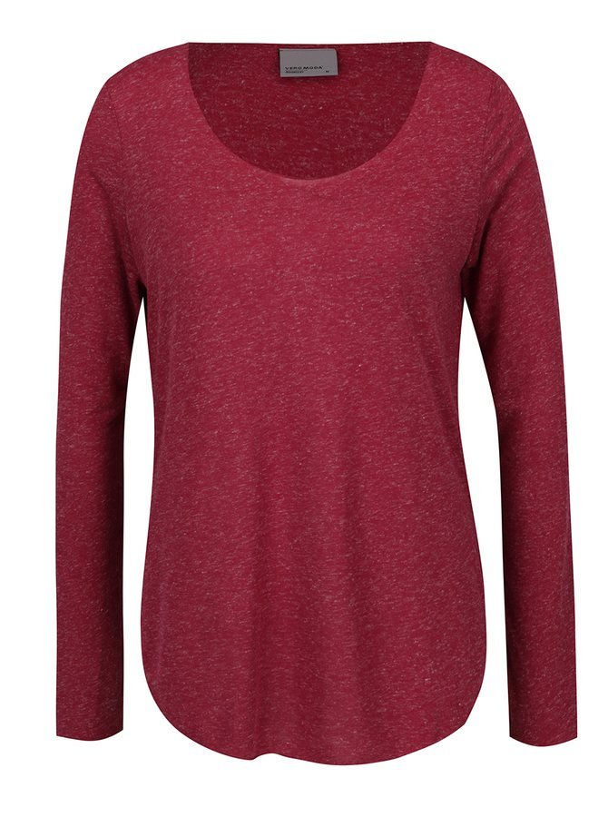 Vínové žíhané tričko s dlouhým rukávem VERO MODA Lua