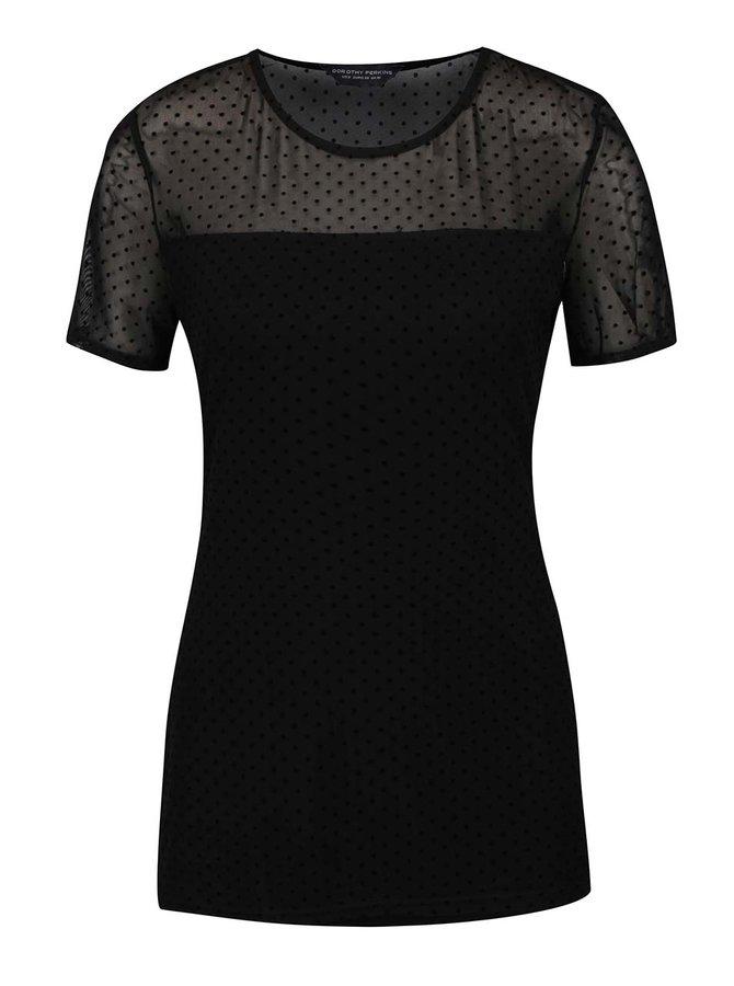 Tricou negru Dorothy Perkins Tall cu inserție semitransparentă