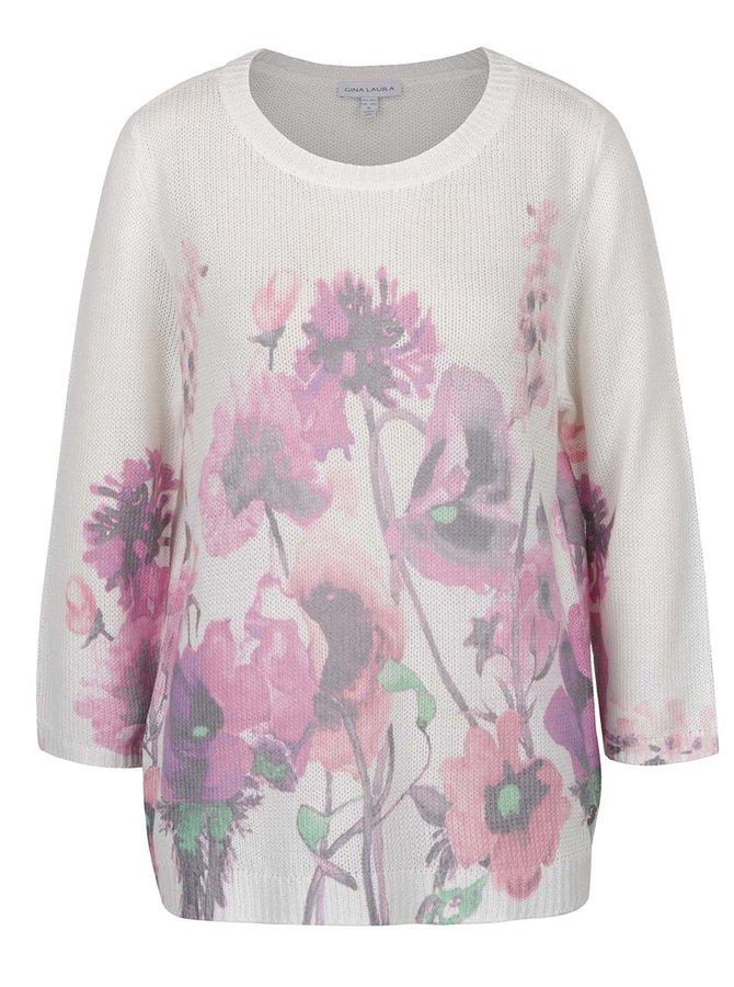 Krémový květovaný svetr s 3/4 rukávem Gina Laura