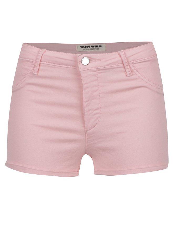 Pantaloni scurți roz TALLY WEiJL cu talie înaltă