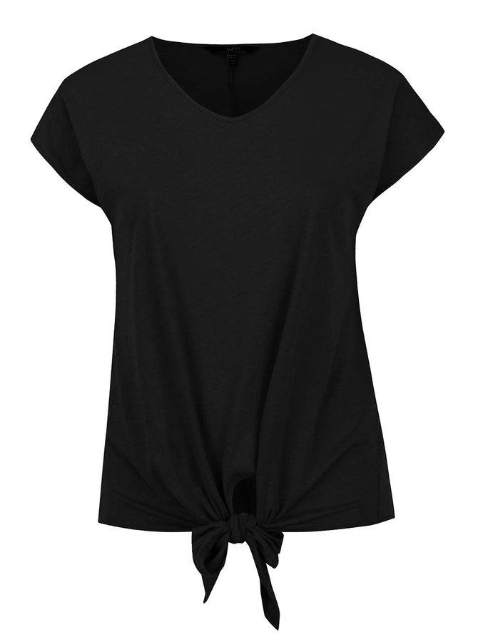 Černé oversize tričko s uzlem Ulla Popken