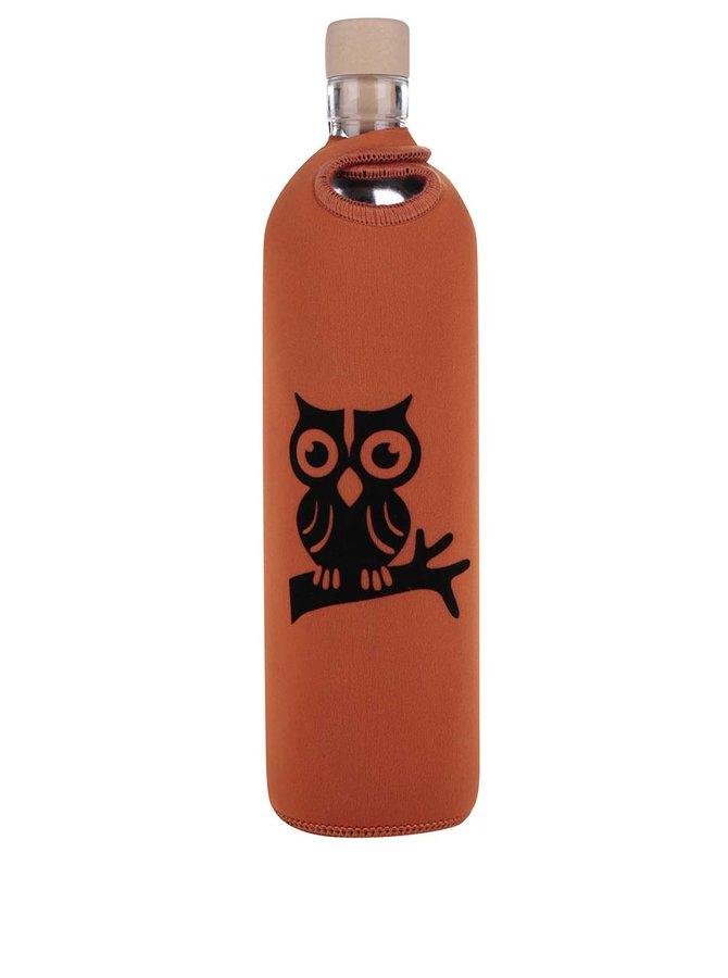 Skleněná láhev v oranžovém neoprenovém obalu Flaška 0,5 l