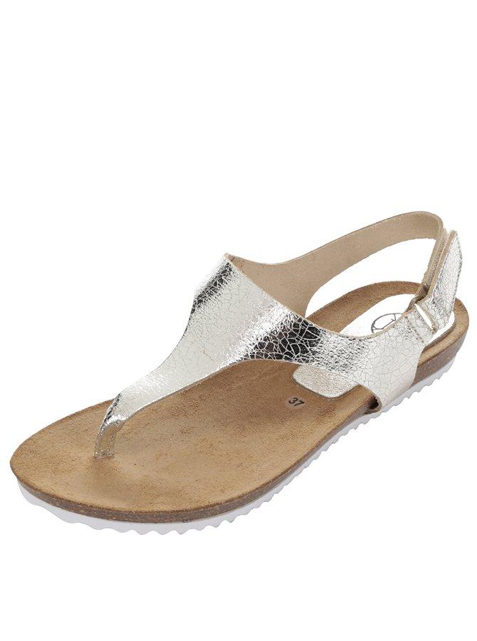 Dámské kožené sandály ve zlaté barvě OJJU