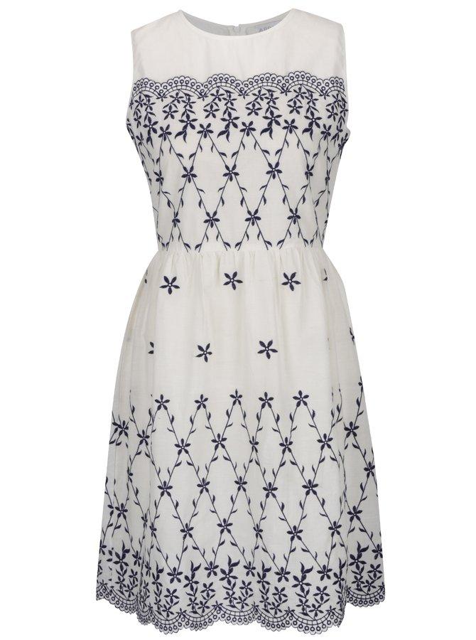 Modro-krémové šaty s výšivkou Apricot