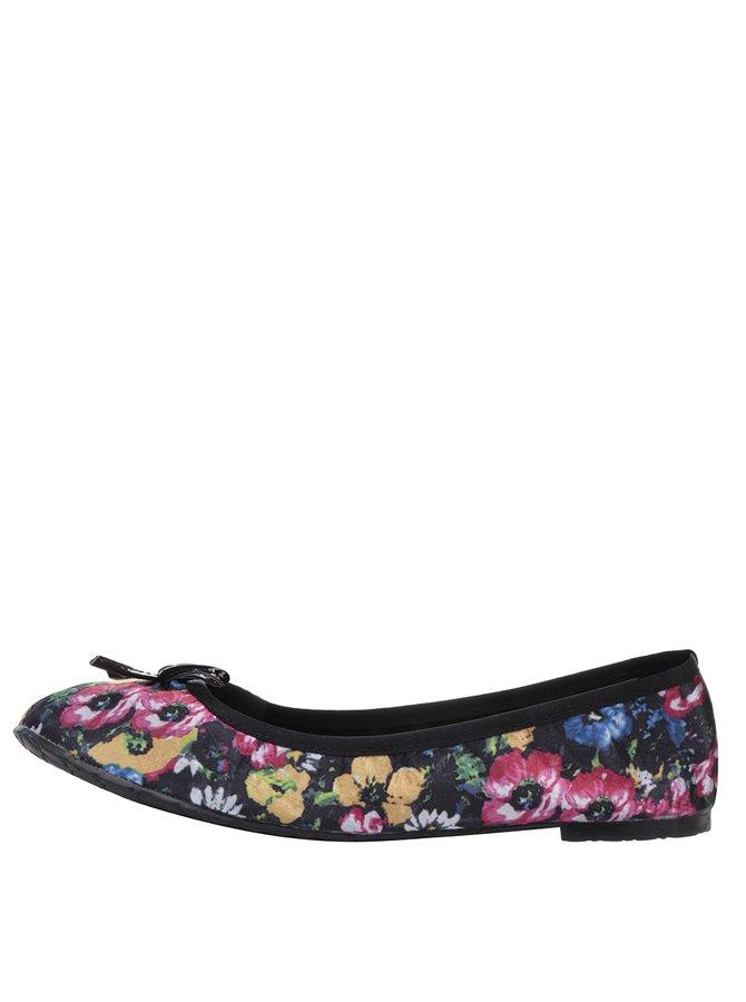 Černé květované baleríny do kabelky Scholl Pb Flower