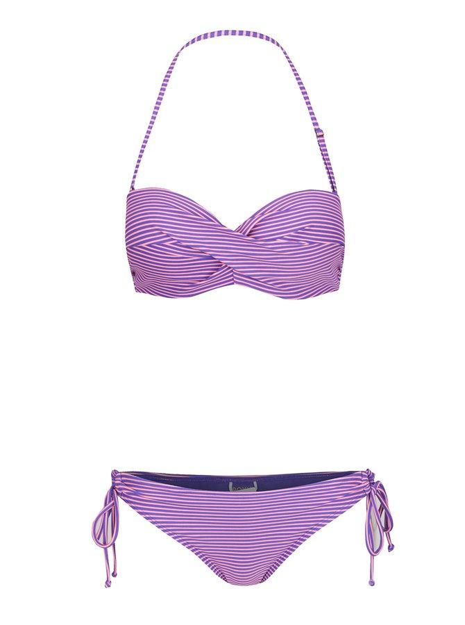 Růžovo-modré dámské  pruhované dvoudílné plavky Roxy Mix