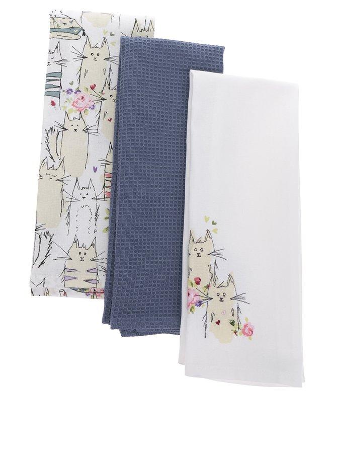 Sada tří utěrek v krémové a modré barvě s motivem koček Cooksmart