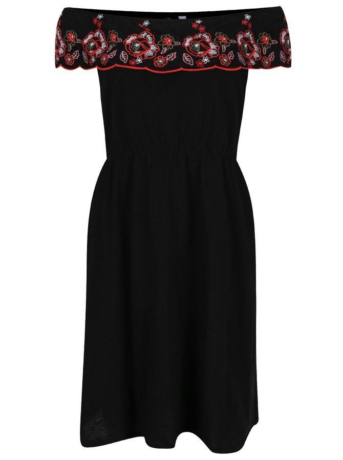 Černé šaty s odhalenými rameny a výšivkami Dorothy Perkins