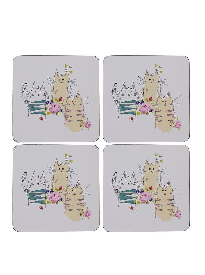 Sada čtyř krémových podtácků s motivem koček  Cooksmart