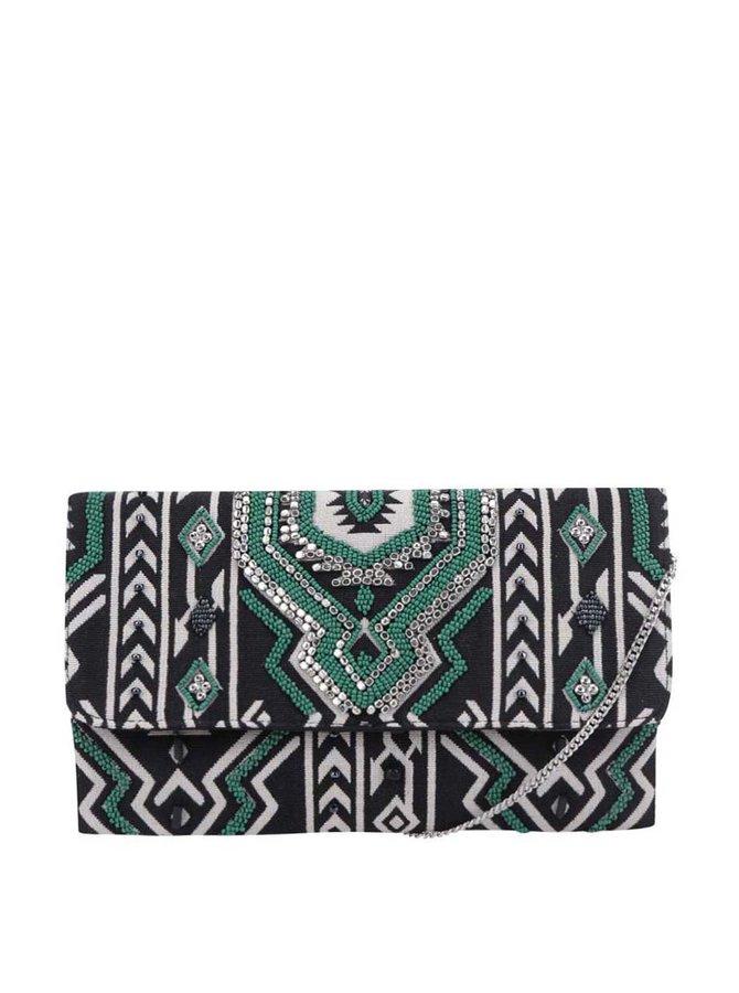 Zeleno-černá vzorovaná crossbody kabelka/psaníčko Pieces Kalani
