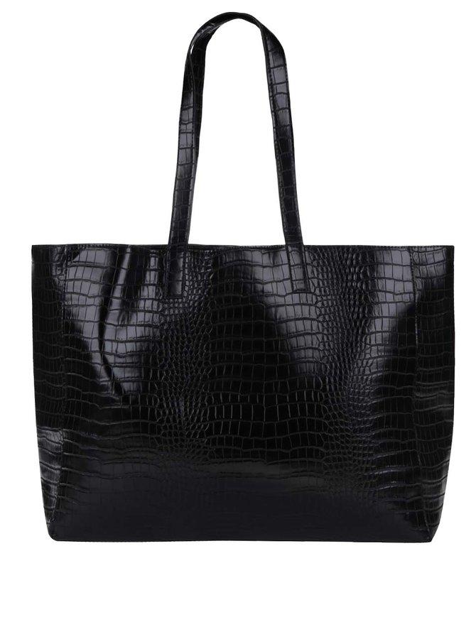 Geantă shopper neagră Pieces Elana cu aspect de piele de șarpe