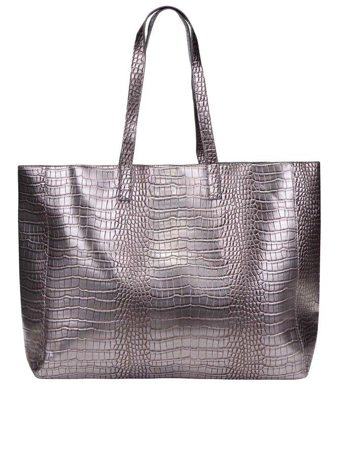 Lesklý oboustranný shopper ve stříbrné barvě Pieces Elana