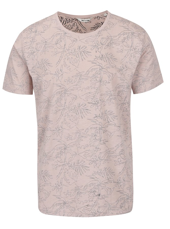 Tricou roz pudrat ONLY & SONS Silas cu imprimeu floral