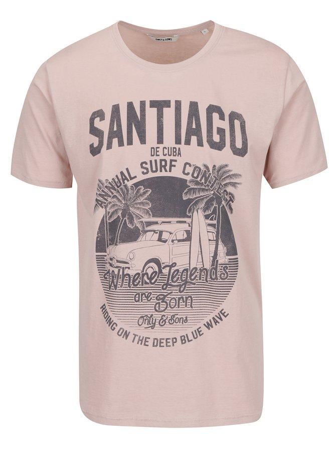Starorůžové triko s potiskem ONLY & SONS Sandy