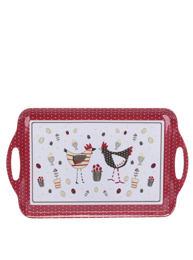 Krémovo-červený velký tác s motivem slepic Cooksmart