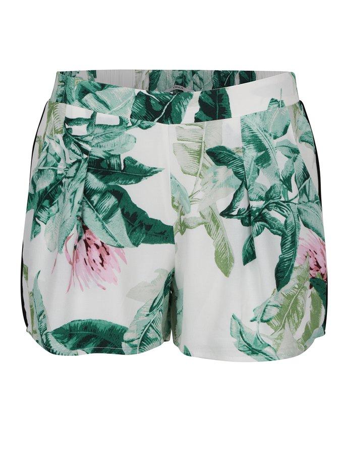 Pantaloni scurți crem ONLY Elena cu imprimeu floral