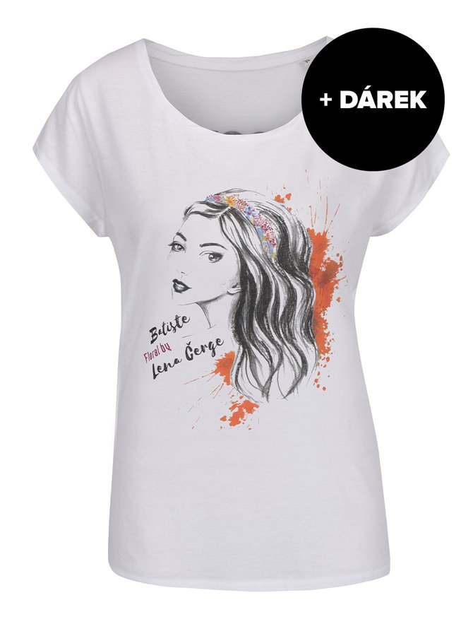 Bílé tričko s potiskem Batiste Floral + DÁREK: suchý šampon
