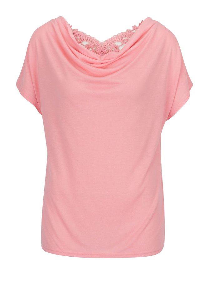 Tricou roz piersică ONLY MIffy cu dantelă spartă pe partea din spate