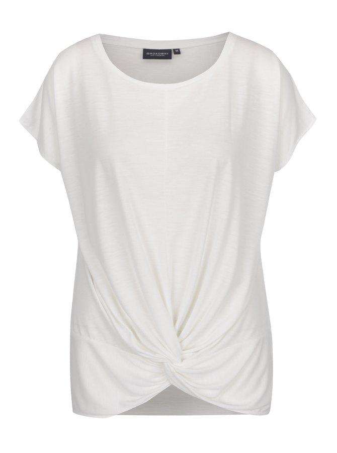 Krémové dámské volné tričko s uzlem Broadway Florina