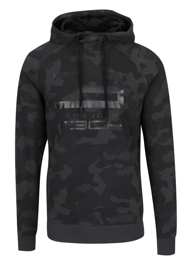 Hanorac gri camouflage Jack & Jones Tech Tachieve cu print