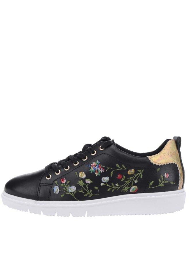 Pantofi sport negri Tamaris cu broderie florală