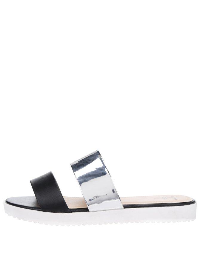 Pantofle v černo-stříbrné barvě TALLY WEiJL