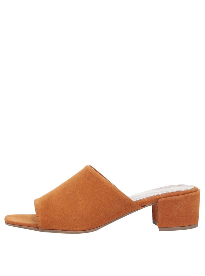 Oranžové semišové pantofle na podpatku Tamaris