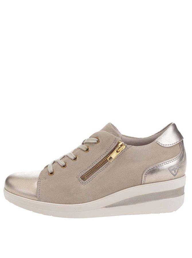 Pantofi sport bej Tamaris din piele întoarsă